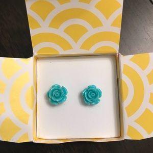 Origami Owl Aqua Rose Earrings